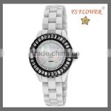 Black Steel Case Ceramic Band Watch Nice Crystal Stone Women Luxury Jewelry Fashion