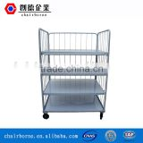Electrostatic spraying surface treatment shelf box handling foldable steel pallet roll container