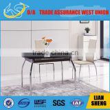 Dinning table with tempered glass panel top and stainless steel frame