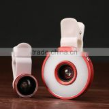 Multi LED Lens Beauty Selfie Fill-in Light Clip-on Fisheye Lens and Macro Wide Angle LED Fisheye Lens for iPhone Samsung