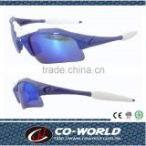 Blue half frame sports glasses, white gloves, white middle frame decorated, streamlined appearance