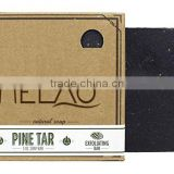 MELAO Pine Tar Soap - Mens Bar with Natural Woodsy Scent and Skin Scrub Exfoliation - Handmade with Pine, Hemp, Olive Oils