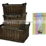 Antique Brown Wicker Willow Storage Christmas Hamper Display Kitchen Basket with Wooden Handles in Choice of Sizes & Deals