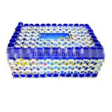 Elegant Silver & blue Crystal decorated Tissue box for Home Hotel Office Car