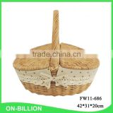 Willow wicker vintage picnic basket hamper with lid and handle