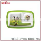Zebra hand-painted children safety food grade cheap melamine plastic food compartment tray
