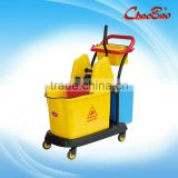 Two Mop Double Wringer Bucket Trolley With Down-press Trolley Head