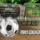 2018 white and black soccer ball car air freshener/freshner with net and cupula with black ice scent