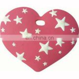 Love heart shaped 3D soft PVC baggage tag with stars