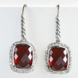 David Yurman Sterling Silver 8x10mm Garnet Noblesse Earrings