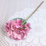 Lifelike Single Leaf Real Touch Light Rosy Hydrangea Artificial Flower