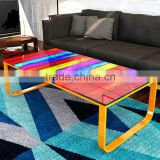 Modern Living Room Furniture Complementary Rainbow Glass Top Coffee Table                                                                         Quality Choice