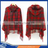 2016 Women Poncho Cashmere Wool Scarf Poncho Cape ,Latest Design Winter Check Blanket Poncho