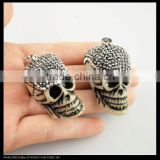 LFD-0098P ~ Wholesale OX / Bull Bone Carved Skull Shape Pendant, With Crystal Rhinestone Paved Druzy Pendants Necklace Jewelry