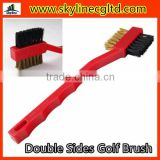 Red Plastic Golf Club brush with 2 sides cleaning