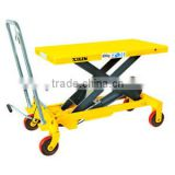 Height adjustable plastic hand operated single fork lift structrue