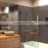 Frameless Bathtub Shower Screen, Swing Door, 60 X 33.5, 5/16 (8mm) Glass, Oil Rubbed Bronze Hinges