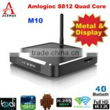 Acemax octa core M10 ott m10 firmware android tv box with high-end configuration Amlogic S812 CPU ,dual band wifi, metal case.