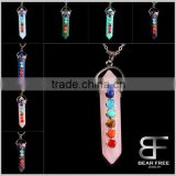 7 Chakra Healing Stone Focal Beads Pendant Gemstone Crystal Hexagonal Prism Pile Reiki Necklace