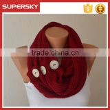 V-440 chunky knit neck warmer winter scarf with buttons crochet circle cable pattern neck warmer loop scarf