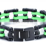 Wholesale stainless steel black&green bike chain bracelet with bead biker bracelets for men high quality heavy biker bracelet