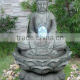 Sitting Buddha Serenity Garden Water Pump LED Light for Outdoor Tabletop Zen Fountain