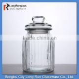 LongRun 2015 Eco-friendly 22oz Vintage-Style Ribbed candy food nut Glass Jar Glassware with OEM