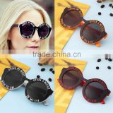 Lovely Retro Round Frame Sunglasses Funny Letters Summer Cool Eyewear