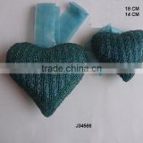 Heart shaped blue colour set of 2 pcs Glass bead Christmas tree ornament available in all colours and sizes