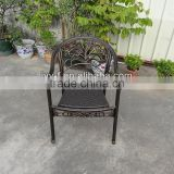 bistro chair aluminium with PE rattan/outdoor metal chair cast aluminum/patio chair wicker seating metal frame