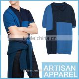 Color Contrast Knit short sleeve men's polo shirts blue and black color matching Men tailored casual polo shirt with OEM service