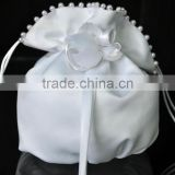 Hot Sale Bridal Satin Rose Clutch Wedding Party Handbag Ladies Bridal white Bag with pearls Wedding Bridal Dolly Bag Handbag