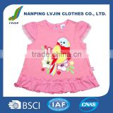 Newest design baby girls' lovely print applique baby t shirts ,high quality custom cotton tee shirt 0-12M