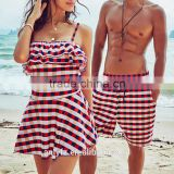 Latest fashion design Plaid Sling Siamese mini dress swimwear for ladies and men's lacing beach pants couple swimsuit