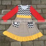 Girls cotton 100% dresses cute baby spring clothes ruffled long sleeve stripe kids dress collection