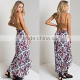 Hearts On Fire Side Slit Wrap Maxi Skirt In Navy Combo