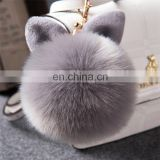 Cute Rabbit Ear Factory Rabbit/Fox Fur Pom Pom fluffy Ball Bobble Keychain with Strap and Metal Buckle Key Ring