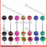cheap flat tongue rings piercing body jewelry wholesale Image
