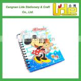 2016 custom promotional cartoon spiral school books for students