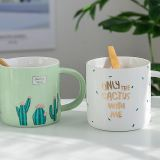 Chinese Factory Ins Style Fashionable Green Cactus Handmade Ceramic Mug