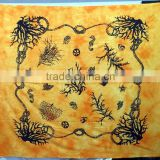 Wholesale made Orange Tapestry cotton beautiful printed hand block work gypsy Indian vintage tapestry