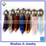 Wholesale Gemstone Rock Crystal healing point chakra pendant,healing two hexagonal natural quartz crystal point pendant