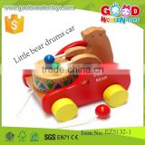 hot selling little bear drums car OEM wooden pull bear cars educational bear toys for children EZ5132-1