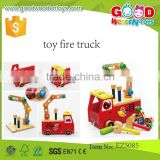 top sale wooden toy fire trucks OEM new design intelligent toy DIY trucks for kids EZ5085
