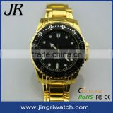 gold watches men design alloy case and band Japan movt waterproof black dial customize logo