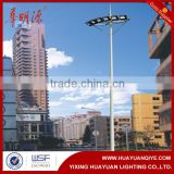 Q235A galvanized steel outdoor projected stadium light poles for high mast lighting with led pole light