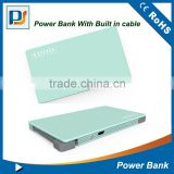New ultra thin polymer metal card mobile power bank 4000mah with built-in cable and rubber oil finish surfance