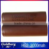 2016 top selling LG HG2 18650 3.7v 3000mah battery 18650 battery 3000mah lghg2 18650 battery