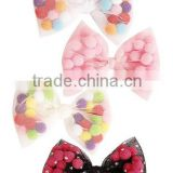 Cute Mesh Bow With Pom Pom Balls,Sweet Ball Hair Clip for kids                                                                         Quality Choice