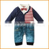16 new European flag button cotton gentleman Romper Jumpsuit climbing clothing children's clothing wholesale trade